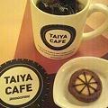 写真: アイスコーヒーとタイヤクッキー@TAIYA CAFE