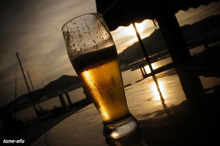 夕暮れビール