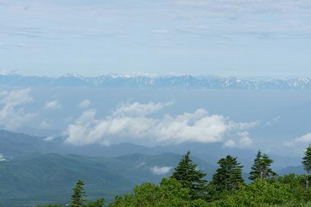遠くに北アルプスの山々