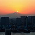 富士に陽が沈む