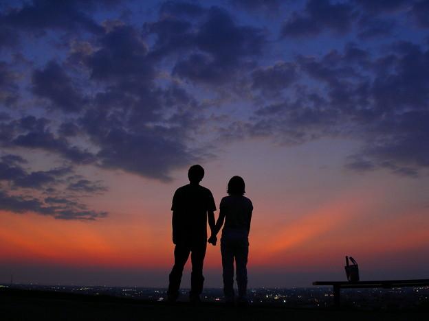 二人で見た夕焼け