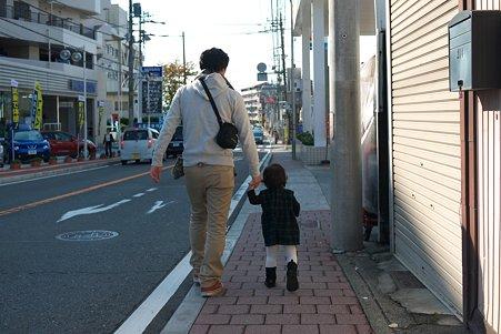 2011.11.20 町内 パパと姫 ママと弟に会いに