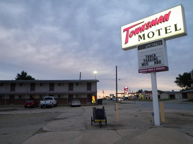 カンザス州イェイツセンターにあるタウンズマンモーテル。