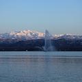 白山と柴山潟 噴水